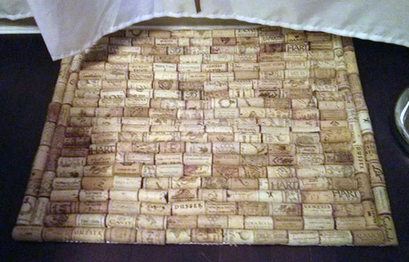 Part of sustainability is creating things from things that might otherwise get thrown out.  Here you have a wine cork bath mat. What fun to create.