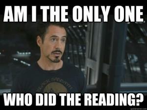 Tony Stark reading
